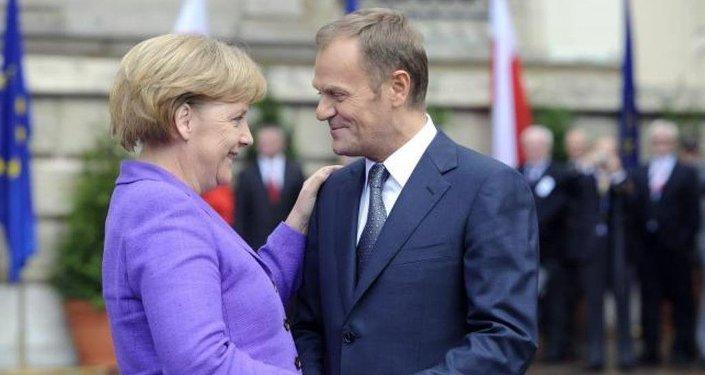 Almanya Başbakanı Angela Merkel ile Avrupa Konseyi Başkanı Donald Tusk.