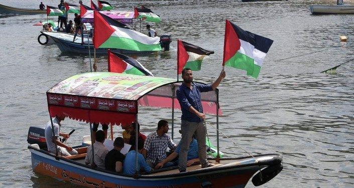 Filistinliler, Gazze'ye yardım taşıyan filoların engellenmesini protesto ediyor