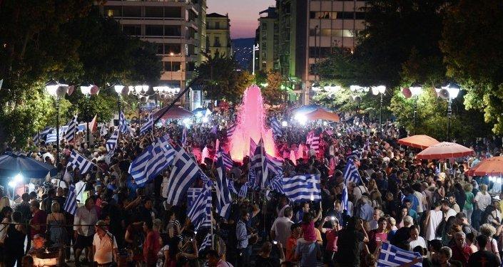 Yunanistan referandum kutlama