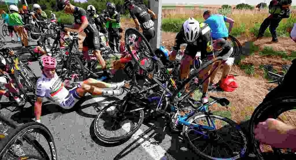 Fransa Bisiklet Turu'nda zincirleme kaza