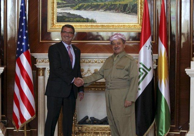 ABD Savunma Bakanı Ashton Carter - Irak Kürt Bölgesel Yönetimi (IKBY) Başkanı Mesud Barzani