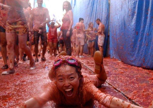 İspanya domates festivali