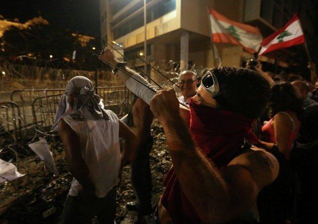 Lübnan'ın başkenti Beyrut'ta protesto