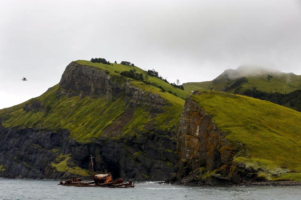 Şikotan adasının kıyılarında bir geminin paslı iskeleti.
