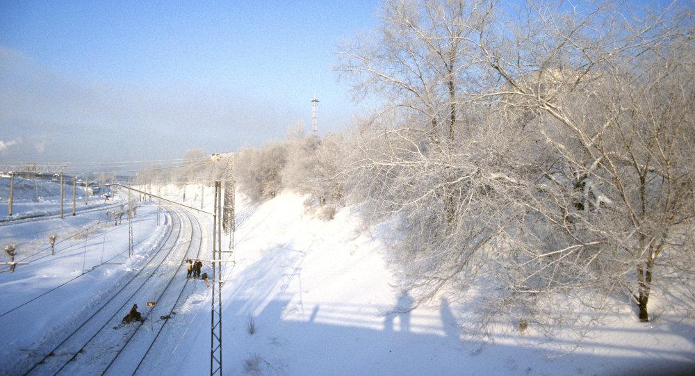 Trans sibirya demiryolu kış manzarası.