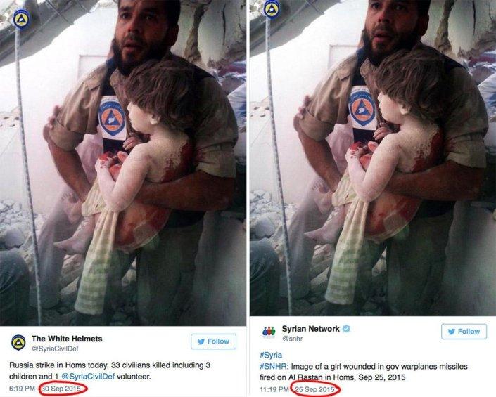 White Helmets'in paylaştığı fotoğrafın aslında 25 Eylül'de çekildiği ortaya çıktı.