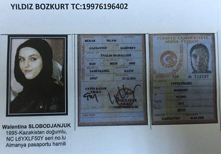 1995 Kazakistan doğumlu  Walentina S.'nin, Yıldız Bozkurt adına sahte kimlik taşıdığı belirtildi.