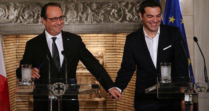 Fransa Cumhurbaşkanı François Hollande - Yunanistan Başbakanı Aleksis Çipras