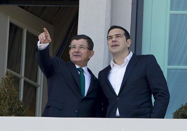 Yunanistan Başbakanı Aleksis Çipras - Başbakan Ahmet Davutoğlu