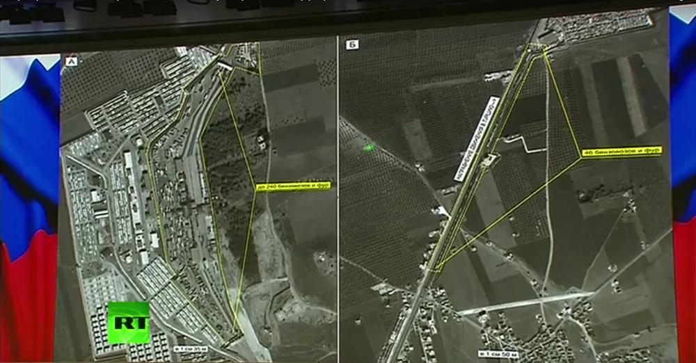 A işaretli görüntüde  240 petrol tankı ve TIR görülüyor. Б işaretli görüntüde Suriye topraklarında sınırı geçmek için bekleyen 46 petrol tankı ve TIR görülüyor.