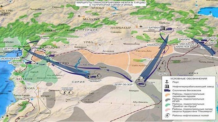 Suriye'den Türkiye'ye yasadışı petrol ticaretinde kullanılan üç ana rota tespit ettiklerini belirten Rusya Genelkurmay yetkilisi Sergey Rudskoy, bunlardan birinin Deyr ez Zor'dan Batman'a, ikincisinin Tel Afar'dan Cizre'ye, üçüncüsünün de Rakka'nın güneyindeki bir petrol yatağından Osmaniye'ye gittiğini açıkladı.