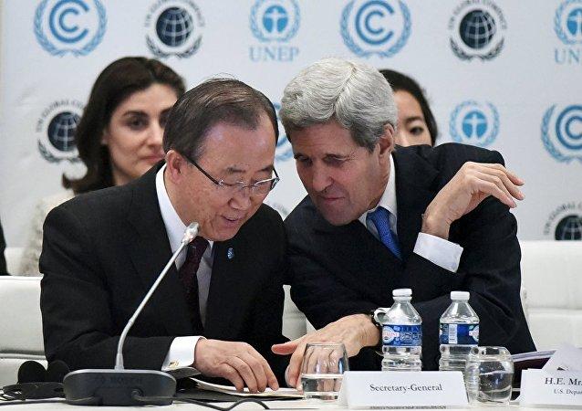 BM Genel Sekreteri Ban ki Mun - ABD Dışişleri Bakanı John Kerry