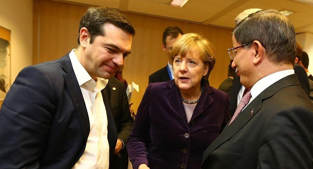 Başbakan Ahmet Davutoğlu - Almanya Başbakanı Angela Merkel - Yunanistan Başbakanı Aleksis Çipras