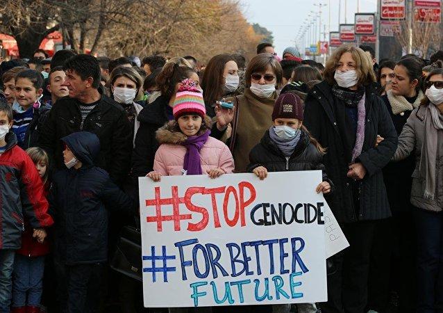 Makedonya'da hava kirliliği protestosu