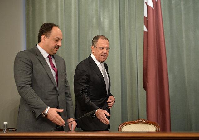 Rusya Dışişleri Bakanı Sergey Lavrov- Katar Dışişleri Bakanı Halid bin Muhammed el Attiye
