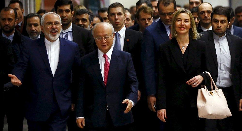 İran Dışişleri Bakanı Zarif, AB Dış İlişkiler Yüksek Komiseri Mogherini, UAEA Başkanı Amano