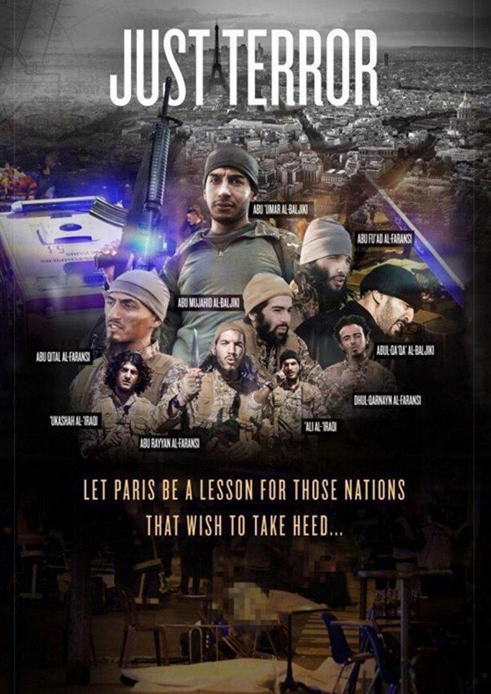 IŞİD'im propaganda dergisi Dabıq'ın 'Sadece Terör' başlıklı haberinin görselinde, dokuz militanın fotoğrafları kullanıldı.