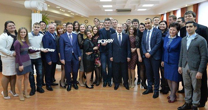 Rusya Devlet Başkanı Vladimir Putin, Kuzey Kafkasya Federal Üniversitesi'nde öğrencilerle bir araya geldi.