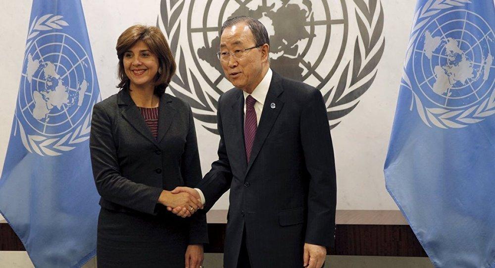 Kolombiya Dışişleri Bakanı Maria Angela Holguin Cuellar- BM Genel Sekreteri Ban Ki-mun