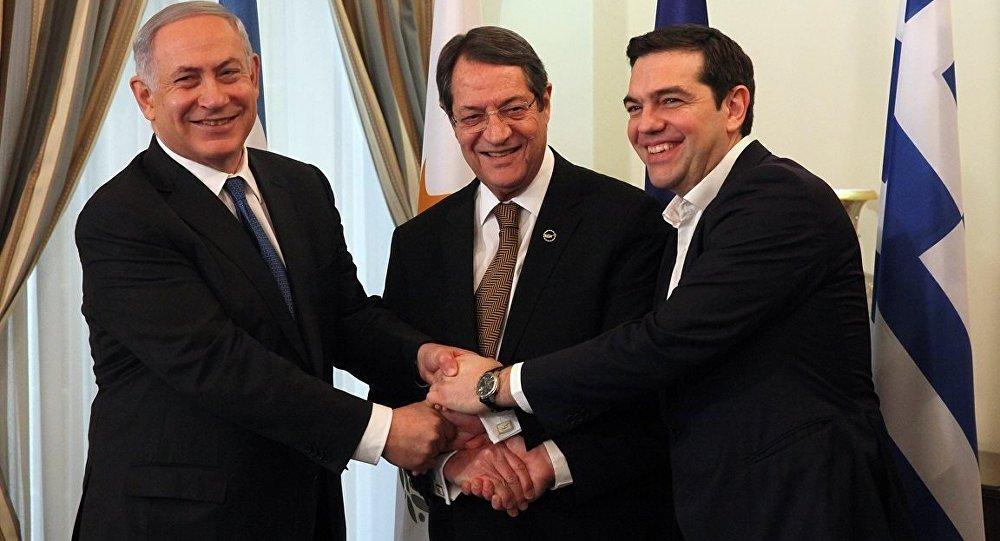 İsrail Başbakanı Benyamin Netanyahu- Güney Kıbrıs lideri Nikos Anastasiadis- Yunanistan Başbakanı Aleksis Çipras