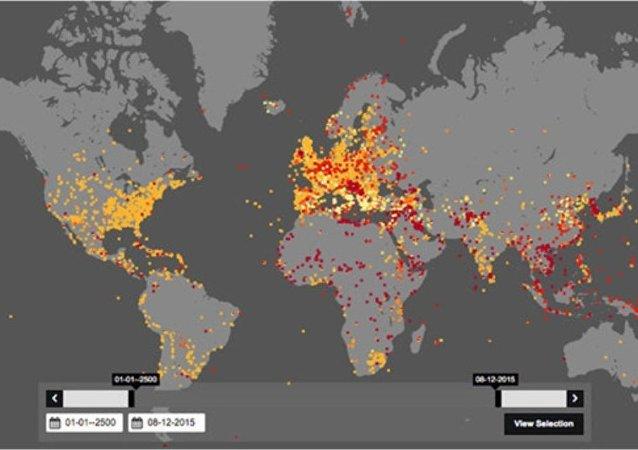 Tarihteki savaşların gösterildiği harita