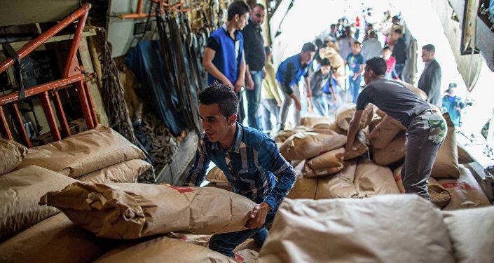 Rusya'nın Suriye'ye ulaştırdığı insani yardım paketleri (Arşiv)