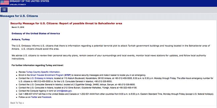 ABD'nin Ankara Büyükelçiliği'nin sitesinde yer alan uyarı yazısı.