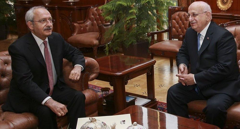 TBMM Başkanı İsmail Kahraman, CHP Genel Başkanı Kemal Kılıçdaroğlu'nu Meclisteki makamında kabul etti.