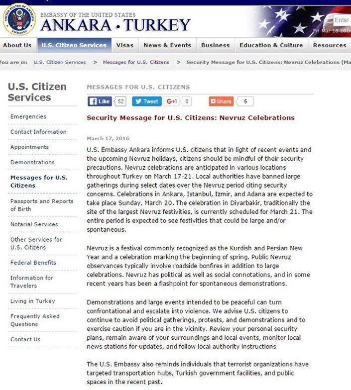 ABD Büyükelçiliği'nin Nevruz öncesi vatandaşları için yayınladığı uyarı mesajı