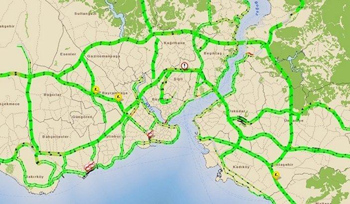 20 Mart sabahına ait 'İstanbul Trafik Yoğunluğu' haritası