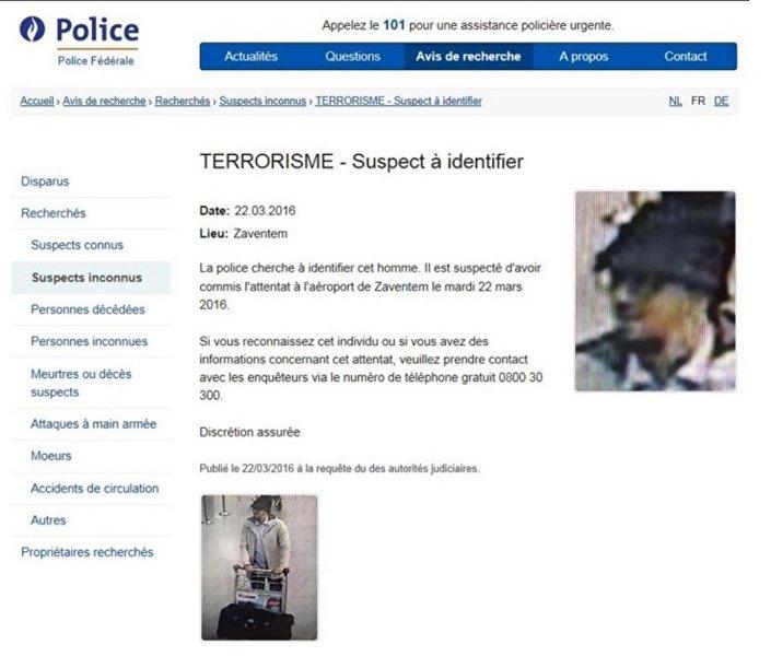 Belçika emniyeti, 'firari şüphelinin' fotoğrafını internet sitesinde yayınladı.