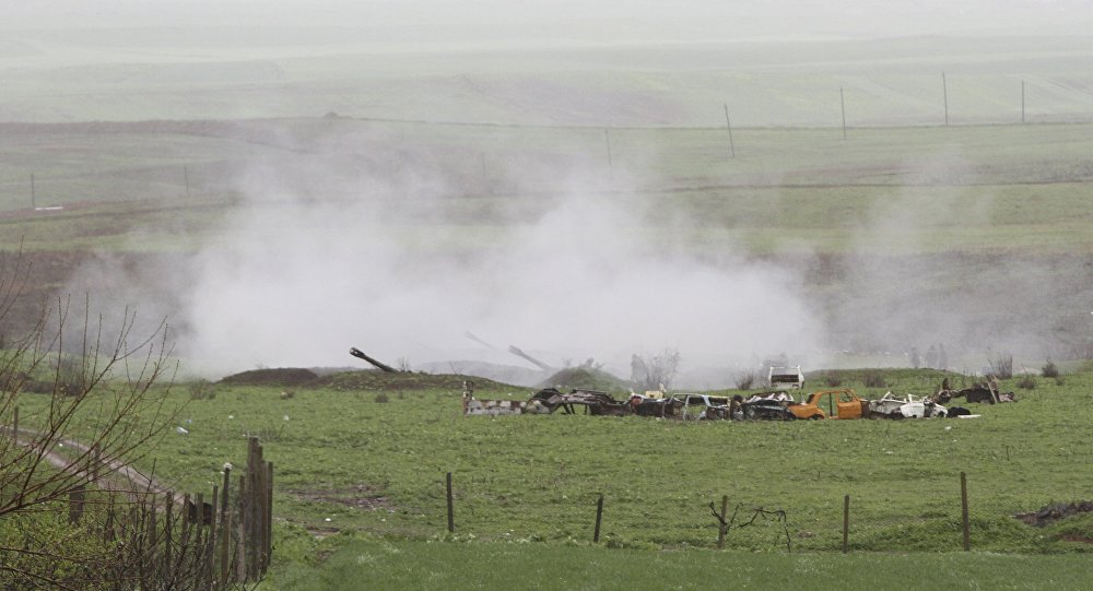 An Armenian artillery unit is seen in the town of Martakert, where clashes with Azeri forces are taking place, in Nagorno-Karabakh region, which is controlled by separatist Armenians, April 3, 2016.