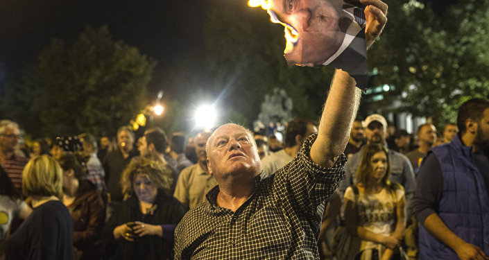Makedonya'daki telekulak skandalının örtbas edilmesi protesto edildi