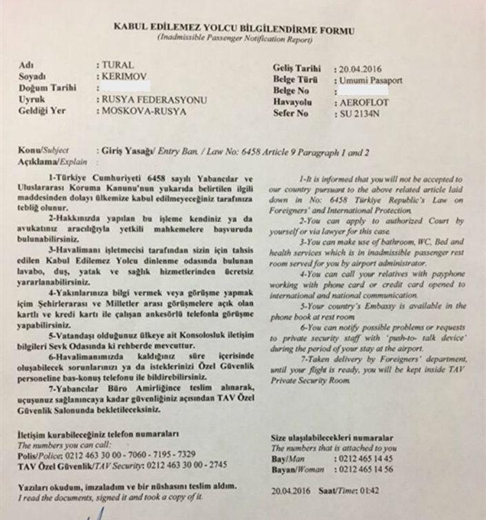 Tural Kerimov'a tebliğ edilen belge.
