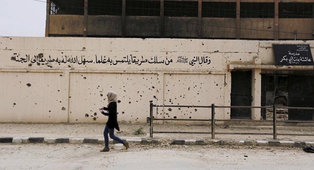 IŞİD tarafından tahrip edilen bir okul.