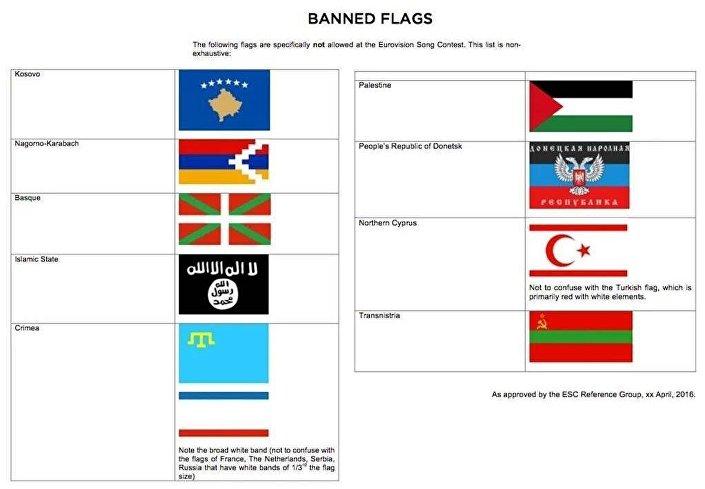 Eurovision Komitesi, Kosova, Kuzey Kıbrıs gibi bağımsızlık ilanına ilişkin tartışmaların sürdüğü ülkelerin yanı sıra IŞİD bayrağına da yasak getirdi.