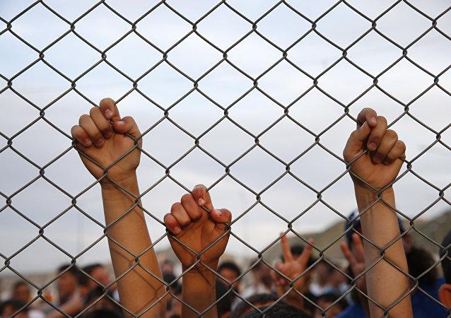 Nizip'teki sığınmacı kampındaki çocuklar.