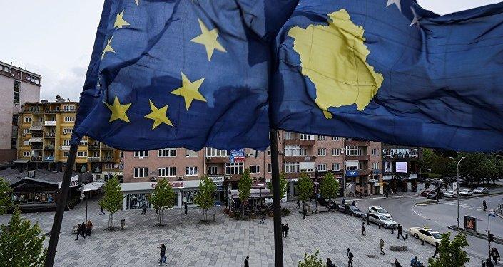 Kosova - AB bayrakları - Priştine