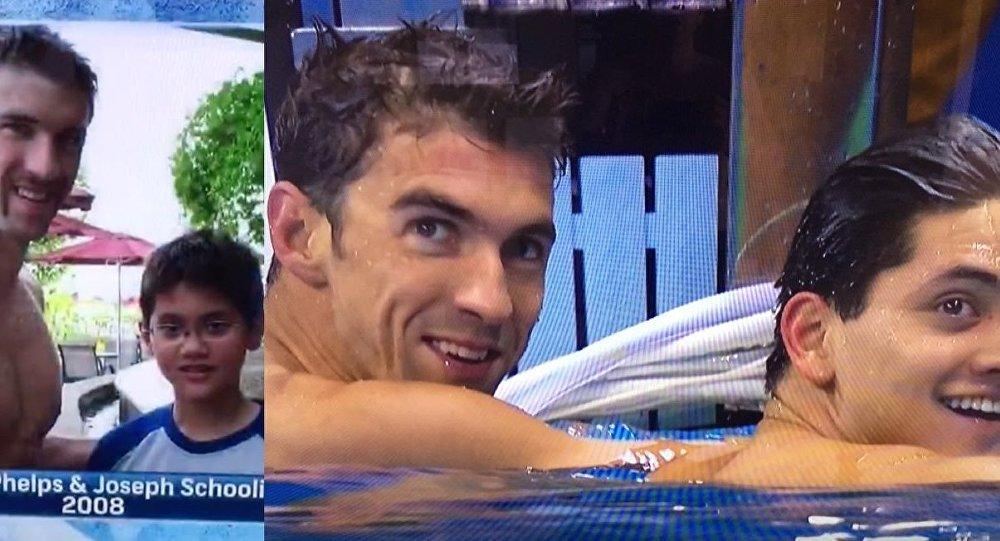 Phelps ile 13 yaşındayken ABD'li yüzücüyü ziyarete giden Schooling