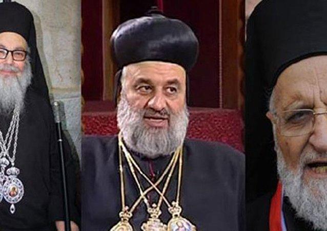 Antakya ve Tüm Doğu Rum Ortodokslar Patriği X. Yuhanna Yazıcı, Melkite Rum Katolikler Patriği III. Grigorios Lahham ve Süryani Ortodokslar Patriği Mar İgnatios II. Afram