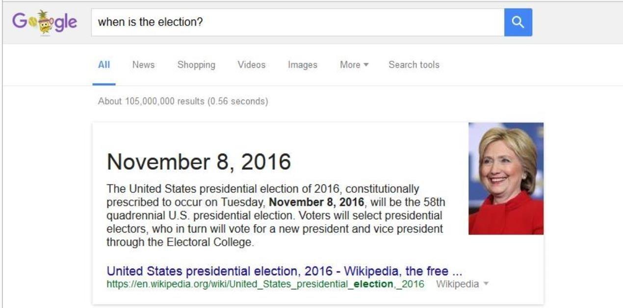 İki adayın resminin gösterilebileceği yerde sadece Clinton'a yer verilmiş.