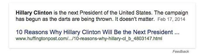 Google'ın 'Bir sonraki başkan kim olacak?' sorusuna verdiği yanıt.