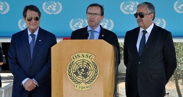 Kuzey Kıbrıs lideri Akıncı ve Kıbrıs Cumhurbaşkanı Anastasiadis - BM Genel Sekreteri'nin Kıbrıs Özel Danışmanı Espen Barth Eide