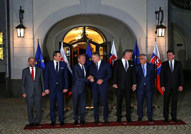 Avrupa Konseyi Başkanı Donald Tusk- Avrupa Komisyonu Başkanı Jean- Claude Juncker- Avrupa Parlamentosu Başkanı Martin Schulz- Slovakya Başbakanı Robert Fico