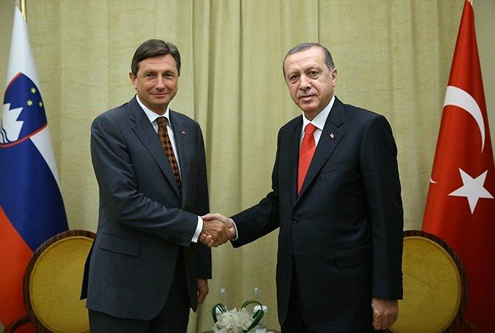 Cumhurbaşkanı Recep Tayyip Erdoğan, BM Genel Kurul görüşmeleri için bulunduğu New York'ta, Slovenya Cumhurbaşkanı Borut Pahor (solda) ile görüştü.