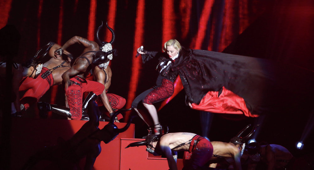 Madonna performs at the BRIT Awards 2015 at The O2 Arena on February 25, 2015 in London, England