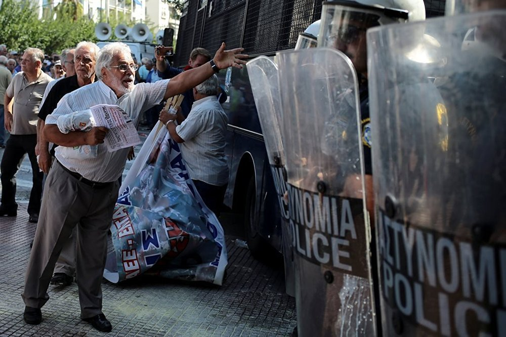 Yunanistan emekli protesto