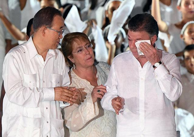 Juan Manuel Santos / Ban Ki-mun / Michelle Bachelet