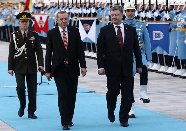 Ukrayna Devlet Başkanı Pyotr Poroşenko, Ankara'da Cumhurbaşkanı Recep Tayyip Erdoğan'ı ziyaret etti.