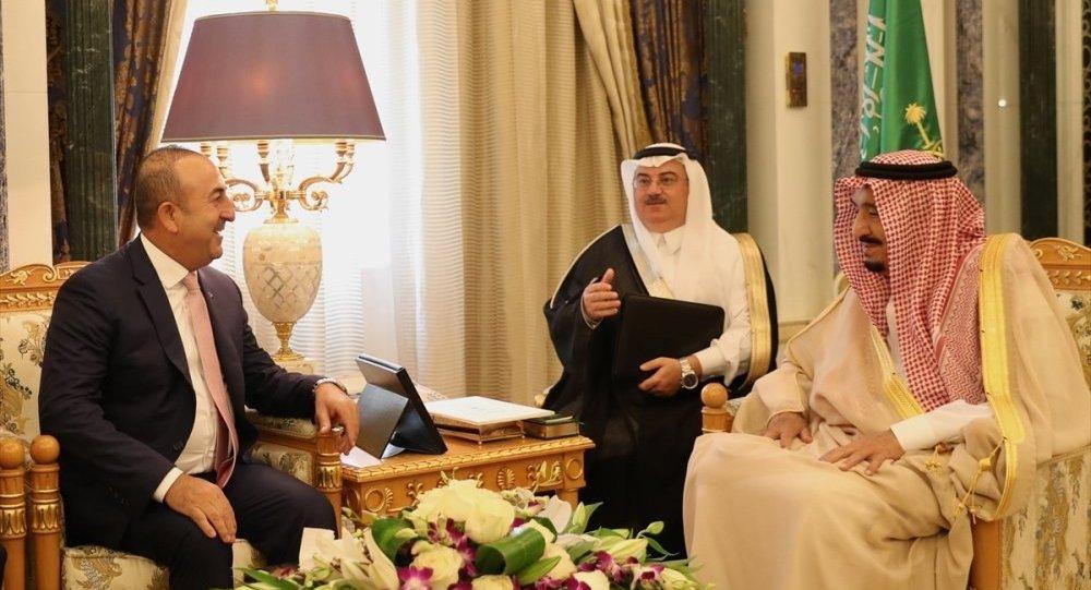 Türkiye Dışişleri Bakanı Mevlüt Çavuşoğlu-Suudi Arabistan Dışişleri Bakanı Adil el-Cübeyr-Katar Dışişleri Bakanı Şeyh Muhammed bin Abdurrahman Al Sani